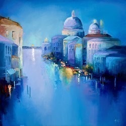 Blue Venice IV by Anna Gammans -  sized 32x32 inches. Available from Whitewall Galleries